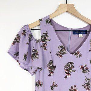 Blue Rain Purple Floral Cold Shoulder Dress L